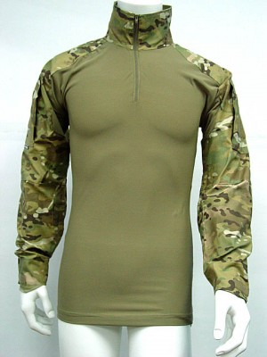 Tactical Combat Shirt Multi Camo w/ Elbow Pad