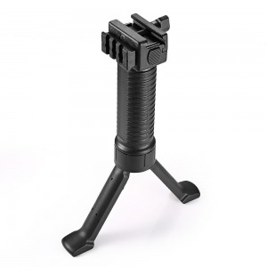 RIS Picattinny 20mm Rail Tactical Foregrip Grip w/Bipod Black