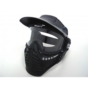 Full Face Airsoft Paintball Goggle Clear Lens Mask BK