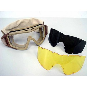 Airsoft Tactical Desert Goggle Glasses with 3 Lens Tan