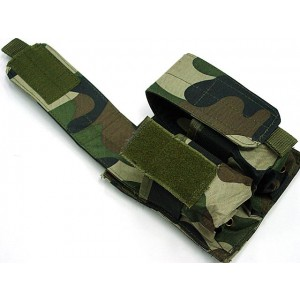 Airsoft Molle Double Magazine Pouch Camo Woodland