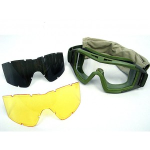 Airsoft Tactical Desert Goggle Glasses with 3 Lens OD