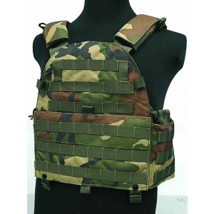 Tactical Molle Recon Plate Carrier Vest Camo Woodland
