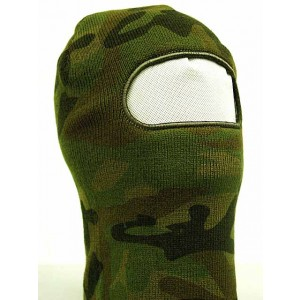 SWAT Balaclava Hood 1 Hole Head Face Knit Mask Camo Woodland