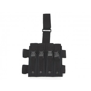 Quadruple MP5 Magazine Drop Leg Pouch Black