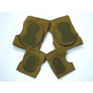 Airsoft Paintball Neoprene Knee & Elbow Pads Coyote Brown