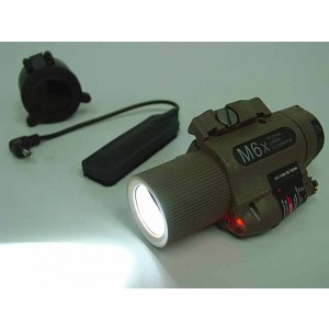 M6X CREE LED Flashlight & Red Laser w/ IR Infrared Filter Tan