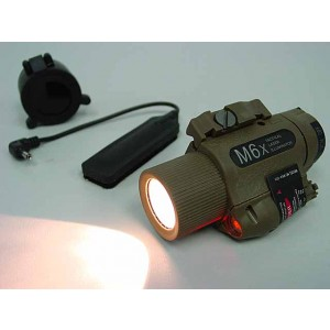 M6X Xenon Flashlight & Red Laser w/ IR Infrared Filter Tan