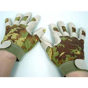 Full Finger Light Weight Duty Gloves Italian Vegetato Camo
