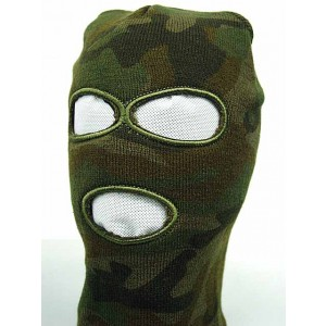 SWAT Balaclava Hood 3 Hole Head Face Knit Mask Camo Woodland
