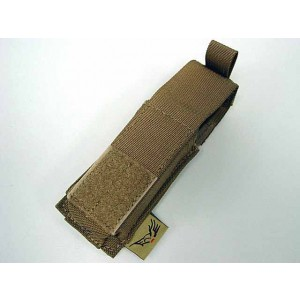 Flyye 1000D Molle Single .45 Pistol Magazine Pouch Coyote Brown