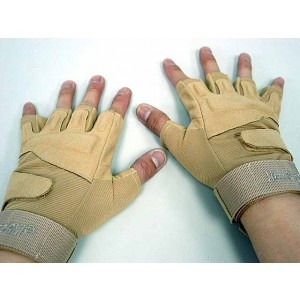 Special Operation Tactical Half Finger Assault Gloves Tan
