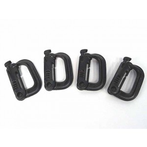 Grimloc D-Ring Locking Molle Carabiner 4pcs Pack Black