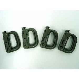 Grimloc D-Ring Locking Molle Carabiner 4pcs Pack OD