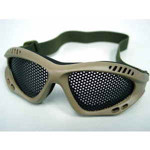 Airsoft Paintball No Fog Metal Mesh Goggle Glasses Tan