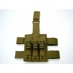 Triple MP5 Magazine Drop Leg Pouch Coyote Brown