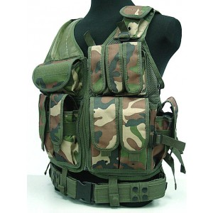 Airsoft Tactical Hunting Combat Vest Camo Woodland
