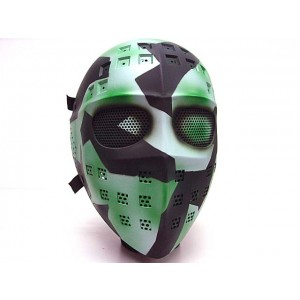 Full Face Hockey Type Airsoft Mesh Goggle Mask Green