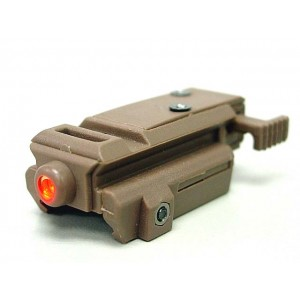 Tactical Pistol Under Rail Flashlight Mount Pulse Red Laser Tan