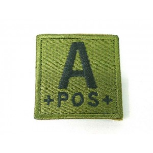 A POS Blood Type Identification Velcro Patch Olive Drab OD