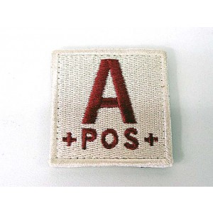A POS Blood Type Identification Velcro Patch Tan