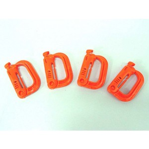 Grimloc D-Ring Locking Molle Carabiner 4pcs Pack Orange