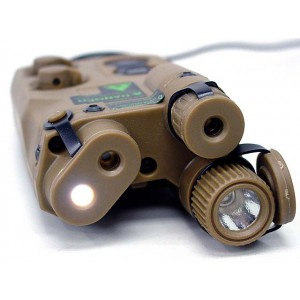 AN/PEQ-16 with Red/Green Laser & Dual LED Illuminator Tan