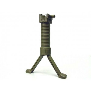 RIS Picattinny 20mm Rail Tactical Foregrip Grip w/Bipod Brown