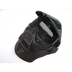 Full Face Airsoft Goggle Mesh Mask w/Neck Protect BK