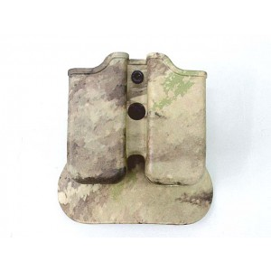 IMI Style Double Pistol Magazine Paddle Pouch A-TACS Camo