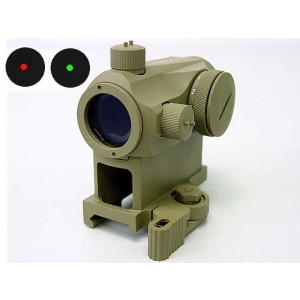 1x24 Micro T-1 Red/Green Dot Sight Scope w/QD High Mount Tan
