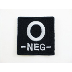 O NEG Blood Type Identification Velcro Patch Black