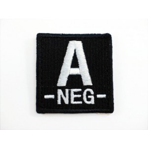 A NEG Blood Type Identification Velcro Patch Black