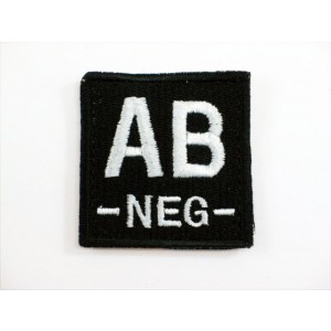 AB NEG Blood Type Identification Velcro Patch Black