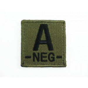 A NEG Blood Type Identification Velcro Patch Olive Drab OD