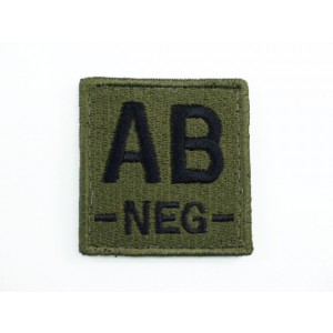 AB NEG Blood Type Identification Velcro Patch Olive Drab OD