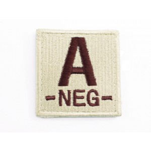 A NEG Blood Type Identification Velcro Patch Tan
