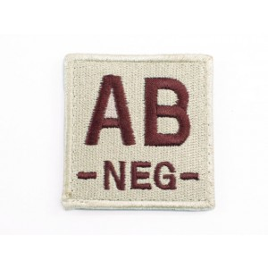 AB NEG Blood Type Identification Velcro Patch Tan