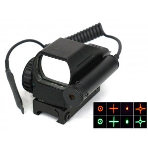 1x22x33 4 Reticle Red/Green Dot Sight Reflex w/ Red Laser