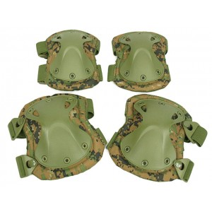 SWAT X-Cap Airsoft Paintball Knee & Elbow Pads Marpat Woodland