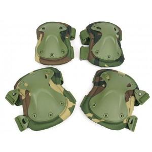 SWAT X-Cap Airsoft Paintball Knee & Elbow Pads Camo Woodland