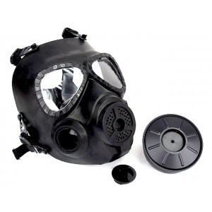 Full Face Dummy Gas Mask with Fan Ventilation Black