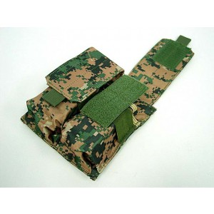 Airsoft Molle Double Magazine Pouch Digital Camo Woodland