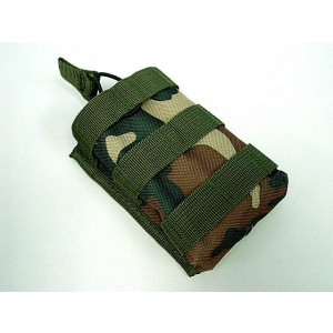 Molle Open Top Magazine/Walkie Talkie Pouch Camo Woodland