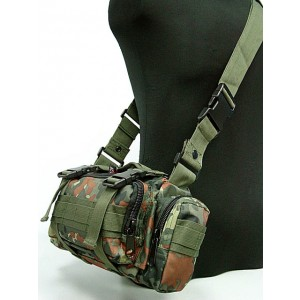 Molle Utility Shoulder Waist Pouch Bag German Camo Woodland