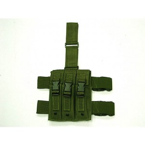 Triple MP5 Magazine Drop Leg Pouch OD