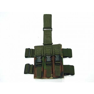 Triple MP5 Magazine Drop Leg Pouch Camo Woodland