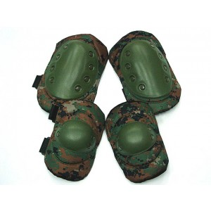 Tactical Knee & Elbow Pads Digital Camo Woodland