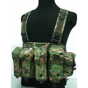 AK Magazine Chest Rig Carry Vest Digital Camo Woodland