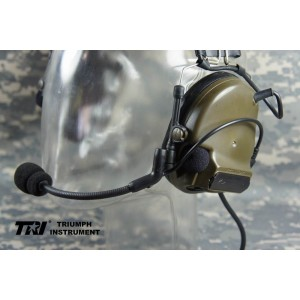 TRI COMTAC III Single Com Noise Reduction Headset (OD) For TRI / Mil-Spec PTT